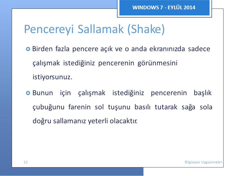 WINDOWS 7 - EYLÜL 2014 Pencereyi Sallamak (Shake)  Birden fazla pencere açık ve o anda ekranınızda sadece çalışmak istediğiniz pencerenin görünmesini istiyorsunuz.