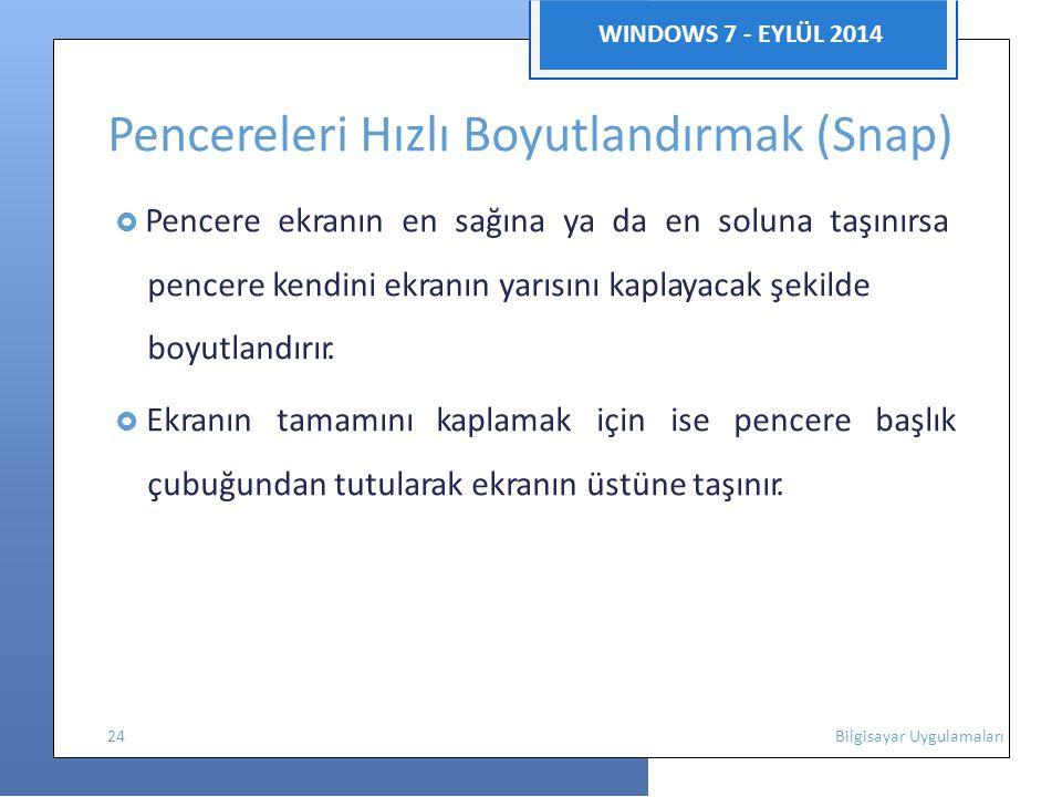 WINDOWS 7 - EYLÜL 2014 Pencereleri Hızlı Boyutlandırmak (Snap)  Pencere ekranın en sağına ya da en soluna taşınırsa pencere kendini ekranın yarısını kaplayacak şekilde boyutlandırır.