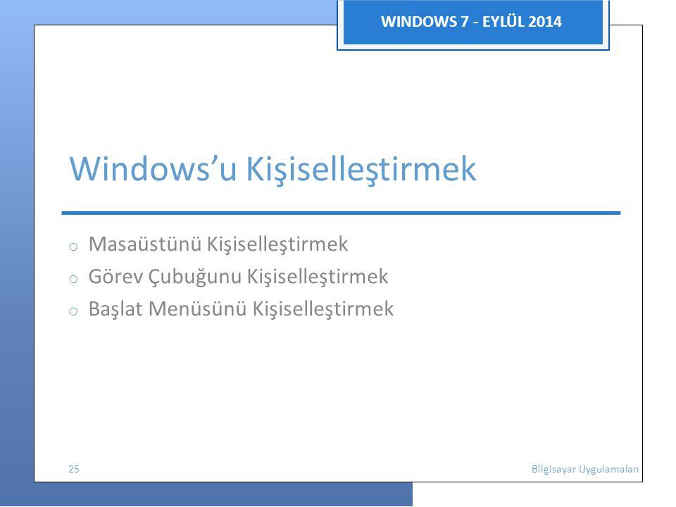 WINDOWS 7 - EYLÜL 2014 Windows'u Kişiselleştirmek o Masaüstünü Kişiselleştirmek o Görev Çubuğunu Kişiselleştirmek o Başlat Menüsünü Kişiselleştirmek 2