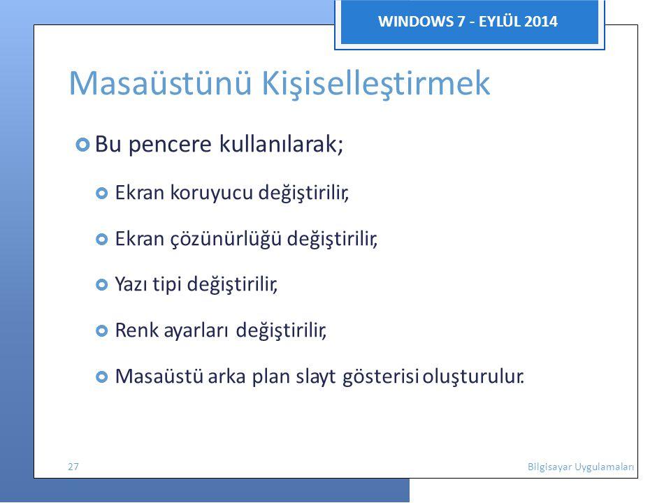 WINDOWS 7 - EYLÜL 2014 Masaüstünü Kişiselleştirmek  Bu pencere kullanılarak;  Ekran koruyucu değiştirilir,  Ekran çözünürlüğü değiştirilir,  Yazı