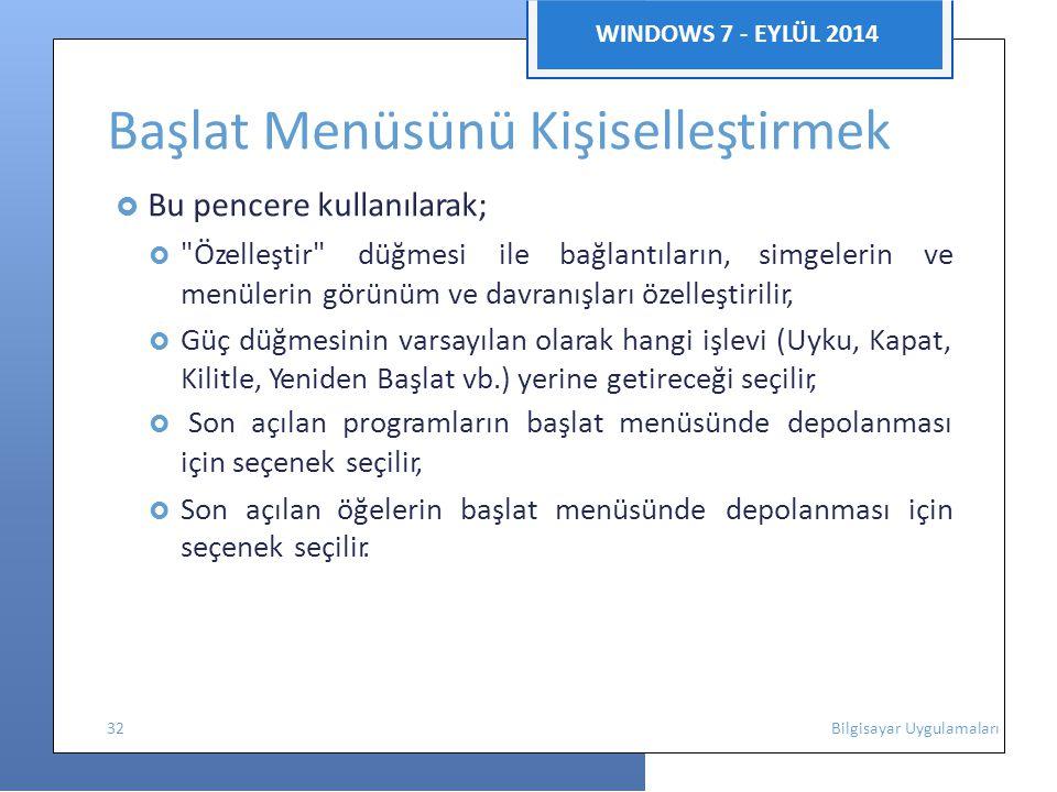WINDOWS 7 - EYLÜL 2014 Başlat Menüsünü Kişiselleştirmek  Bu pencere kullanılarak; 