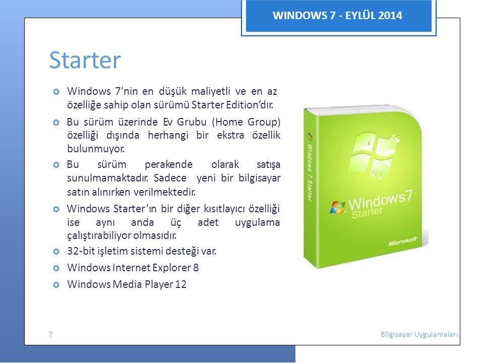 WINDOWS 7 - EYLÜL 2014 Starter  Windows 7′nin en düşük maliyetli ve en az özelliğe sahip olan sürümü Starter Edition'dır.  Bu sürüm üzerinde Ev Grub