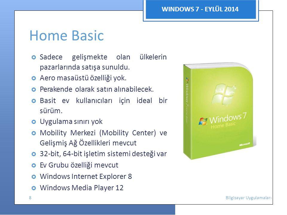 WINDOWS 7 - EYLÜL 2014 Home Basic  Sadece gelişmekte olan ülkelerin pazarlarında satışa sunuldu.  Aero masaüstü özelliği yok.  Perakende olarak sat