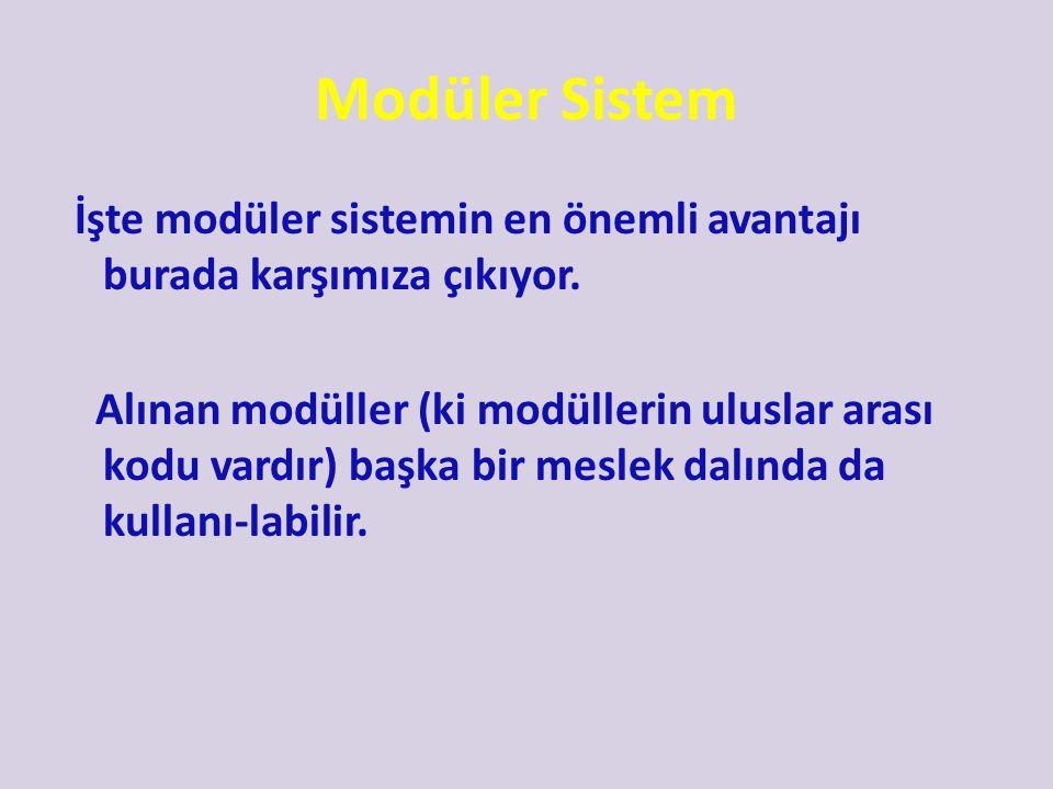 Modüler Sistem Bazı modüller ise birkaç meslek alanında da yer almaktadır. Hatta bazı modüller (ki bunlara Mesleki Gelişim Modülleri Diyoruz) tüm mesl