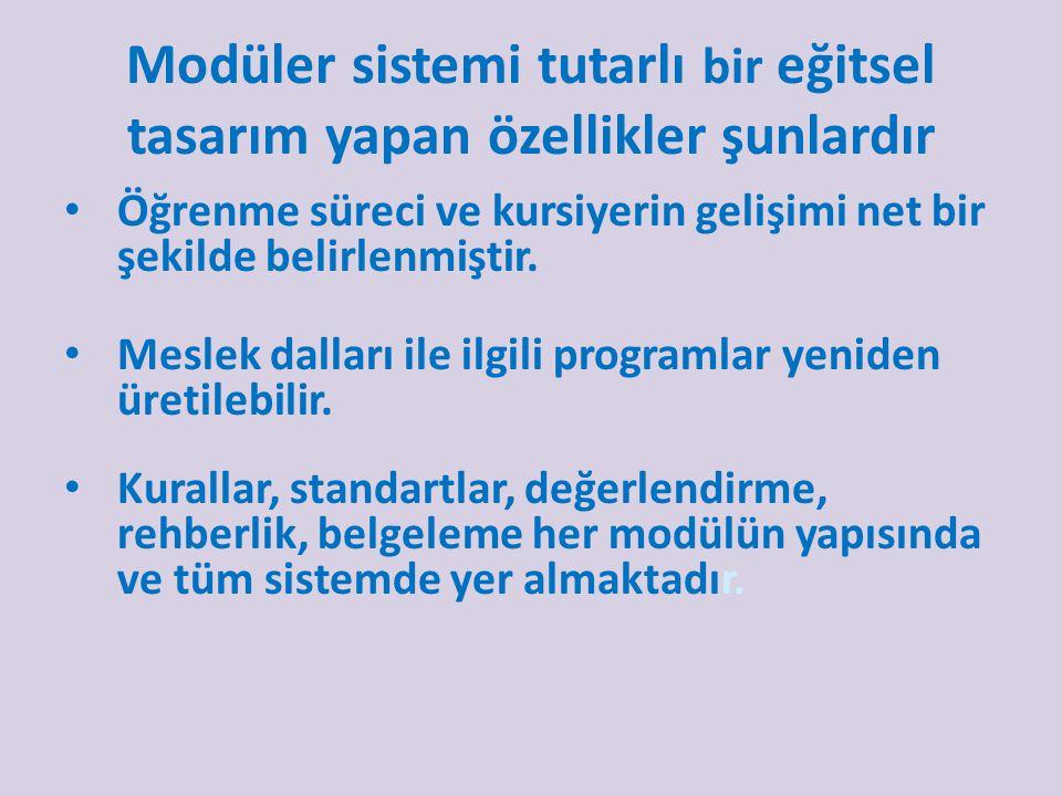 Modüler sistemi tutarlı bir eğitsel tasarım yapan özellikler şunlardır Öğrenme süreci ve kursiyerin gelişimi net bir şekilde belirlenmiştir.