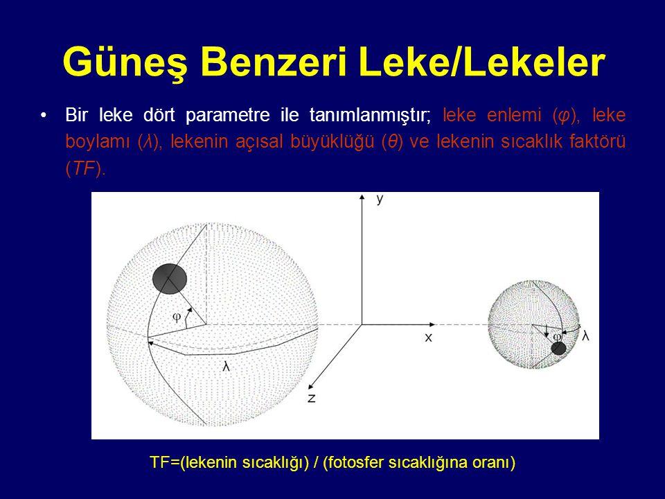 Güneş Benzeri Leke/Lekeler Bir leke dört parametre ile tanımlanmıştır; leke enlemi (φ), leke boylamı (λ), lekenin açısal büyüklüğü (θ) ve lekenin sıca