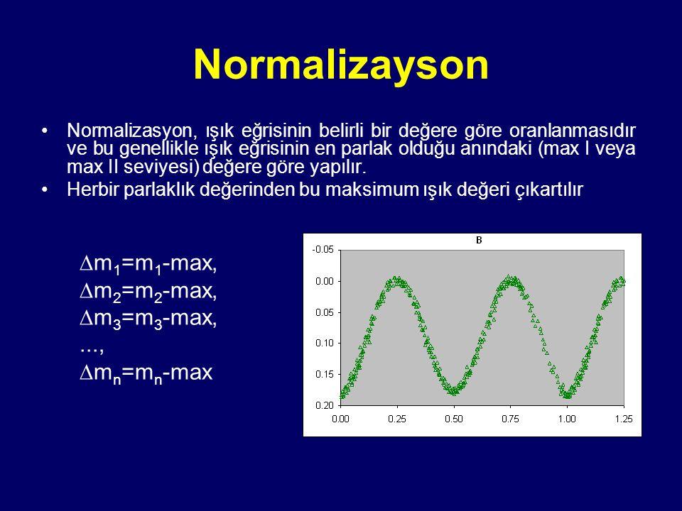Normalizayson Normalizasyon, ışık eğrisinin belirli bir değere göre oranlanmasıdır ve bu genellikle ışık eğrisinin en parlak olduğu anındaki (max I ve