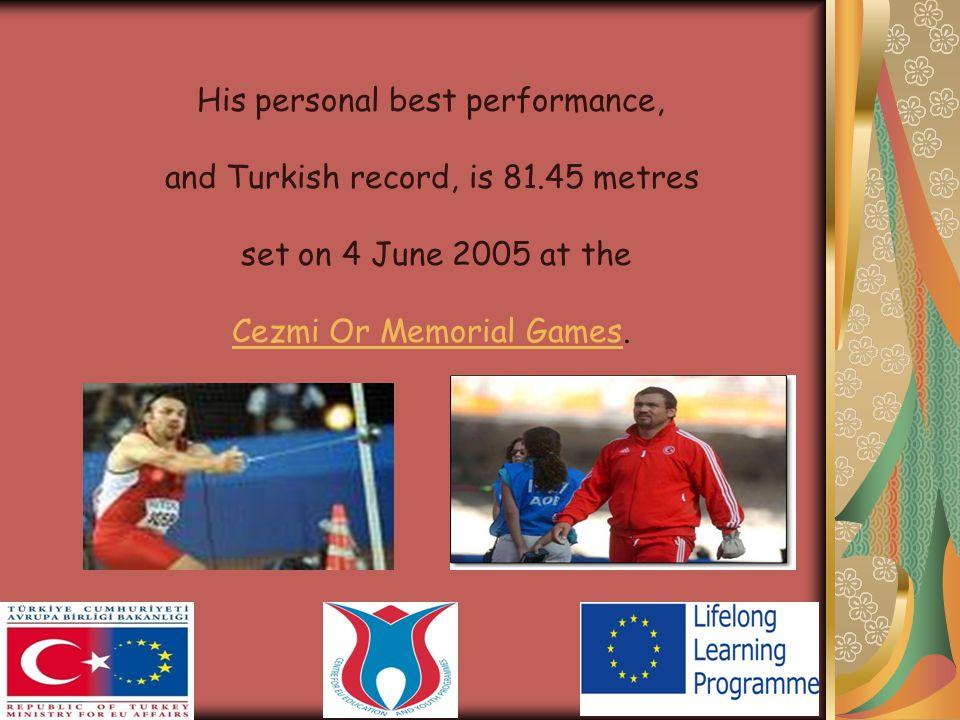 YearCompetitionVenuePositionNotes Representing Turkey 2000World Junıor Championships Santiago,Chile1st69.97 m NJR 2001Mediterranean Games TunisTunis, TunisiaTunisia6th 2004Olympic GamesAthens,Greece3rd 2005UniversiadeIzmirIzmir, TurkeyTurkey2nd Mediterranean Games Almeria,Spain1st World Championships Helsinki, Finland 19th73.04 m Achievements