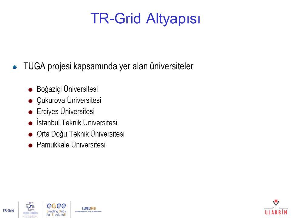 TR-Grid Altyapısı TUGA projesi kapsamında yer alan üniversiteler Boğaziçi Üniversitesi Çukurova Üniversitesi Erciyes Üniversitesi İstanbul Teknik Üniv