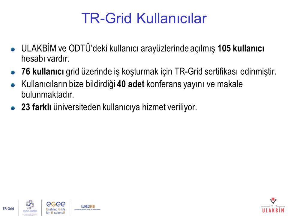 TR-Grid Kullanıcılar ULAKBİM ve ODTÜ'deki kullanıcı arayüzlerinde açılmış 105 kullanıcı hesabı vardır. 76 kullanıcı grid üzerinde iş koşturmak için TR