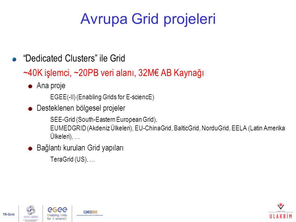 "Avrupa Grid projeleri ""Dedicated Clusters"" ile Grid ~40K işlemci, ~20PB veri alanı, 32M€ AB Kaynağı Ana proje EGEE(-II) (Enabling Grids for E-sciencE)"