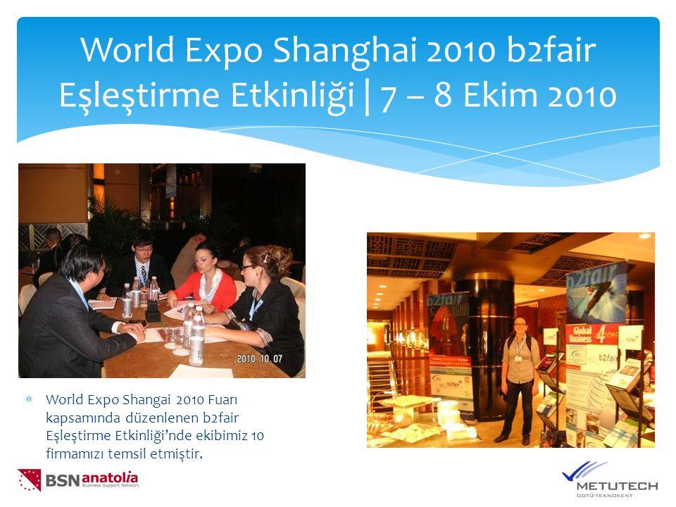 World Expo Shanghai 2010 b2fair Eşleştirme Etkinliği | 7 – 8 Ekim 2010  World Expo Shangai 2010 Fuarı kapsamında düzenlenen b2fair Eşleştirme Etkinliği'nde ekibimiz 10 firmamızı temsil etmiştir.