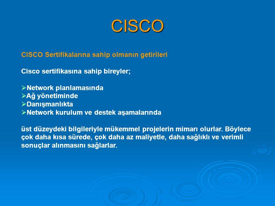 CISCO CISCO Sertifikalarına sahip olmanın getirileri Cisco sertifikasına sahip bireyler;  Network planlamasında  Ağ yönetiminde  Danışmanlıkta  Ne