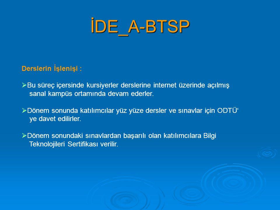İDE_A-BTSP Derslerin İşlenişi :  Bu süreç içersinde kursiyerler derslerine internet üzerinde açılmış sanal kampüs ortamında devam ederler.  Dönem so