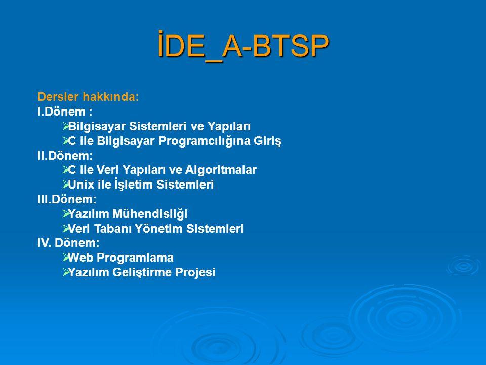 İDE_A-BTSP Dersler hakkında: I.Dönem :  Bilgisayar Sistemleri ve Yapıları  C ile Bilgisayar Programcılığına Giriş II.Dönem:  C ile Veri Yapıları ve