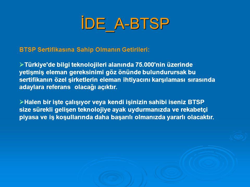 İDE_A-BTSP BTSP Sertifikasına Sahip Olmanın Getirileri:  Türkiye'de bilgi teknolojileri alanında 75.000'nin üzerinde yetişmiş eleman gereksinimi göz