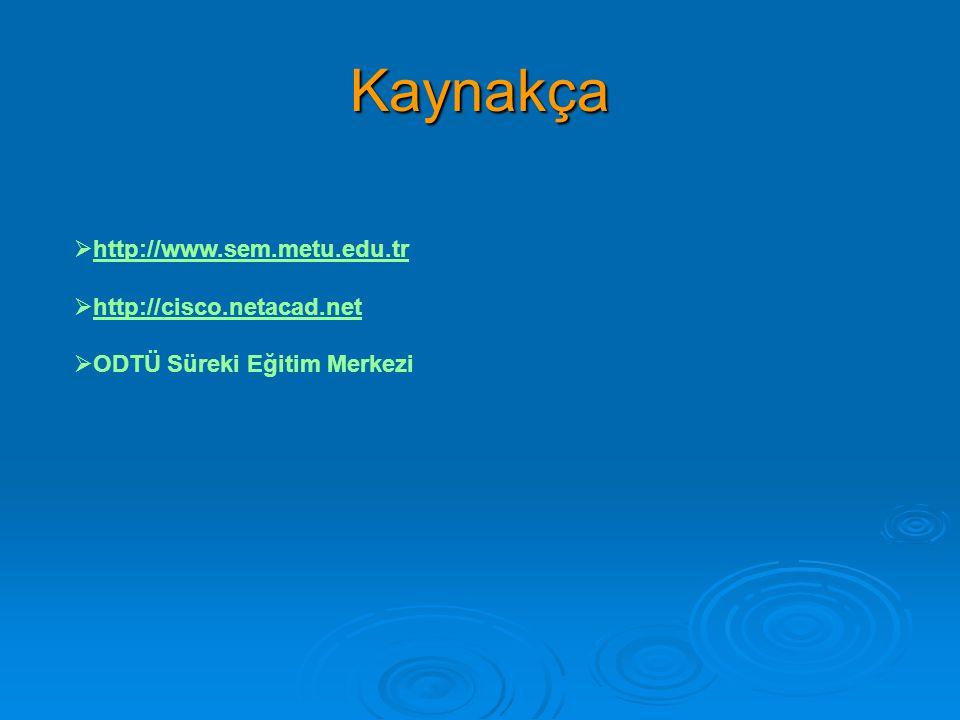 Kaynakça  http://www.sem.metu.edu.trhttp://www.sem.metu.edu.tr  http://cisco.netacad.nethttp://cisco.netacad.net  ODTÜ Süreki Eğitim Merkezi