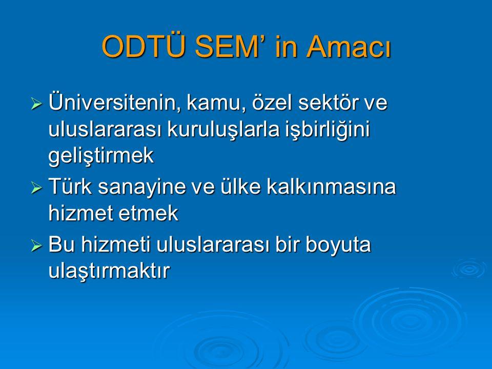 ODTÜ SEM' in Amacı  Üniversitenin, kamu, özel sektör ve uluslararası kuruluşlarla işbirliğini geliştirmek  Türk sanayine ve ülke kalkınmasına hizmet