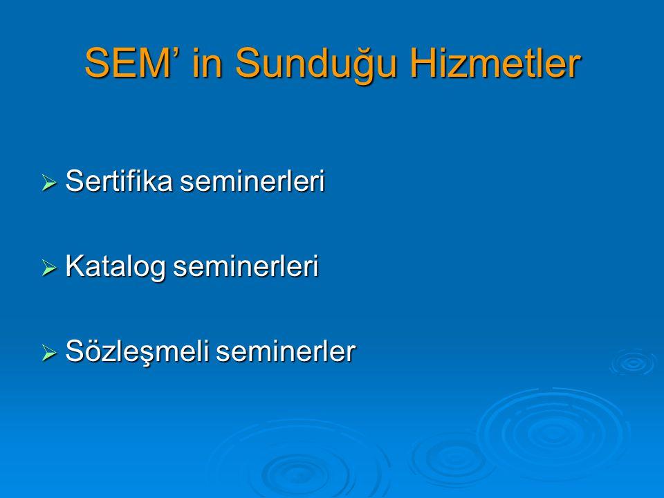 SEM' in Sunduğu Hizmetler  Sertifika seminerleri  Katalog seminerleri  Sözleşmeli seminerler