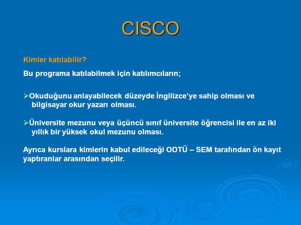 CISCO Kimler katılabilir? Bu programa katılabilmek için katılımcıların;  Okuduğunu anlayabilecek düzeyde İngilizce'ye sahip olması ve bilgisayar okur