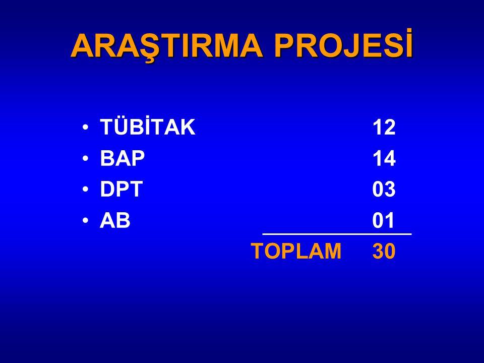 ARAŞTIRMA PROJESİ TÜBİTAK12 BAP14 DPT03 AB01 TOPLAM30