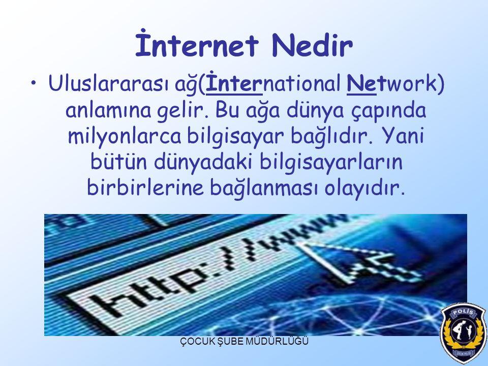 İnternet Nedir Uluslararası ağ(İnternational Network) anlamına gelir. Bu ağa dünya çapında milyonlarca bilgisayar bağlıdır. Yani bütün dünyadaki bilgi