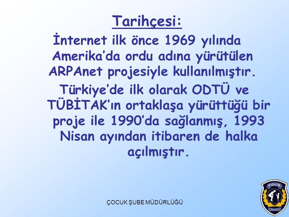 ÇOCUK ŞUBE MÜDÜRLÜĞÜ Tarihçesi: İnternet ilk önce 1969 yılında Amerika'da ordu adına yürütülen ARPAnet projesiyle kullanılmıştır. Türkiye'de ilk olara
