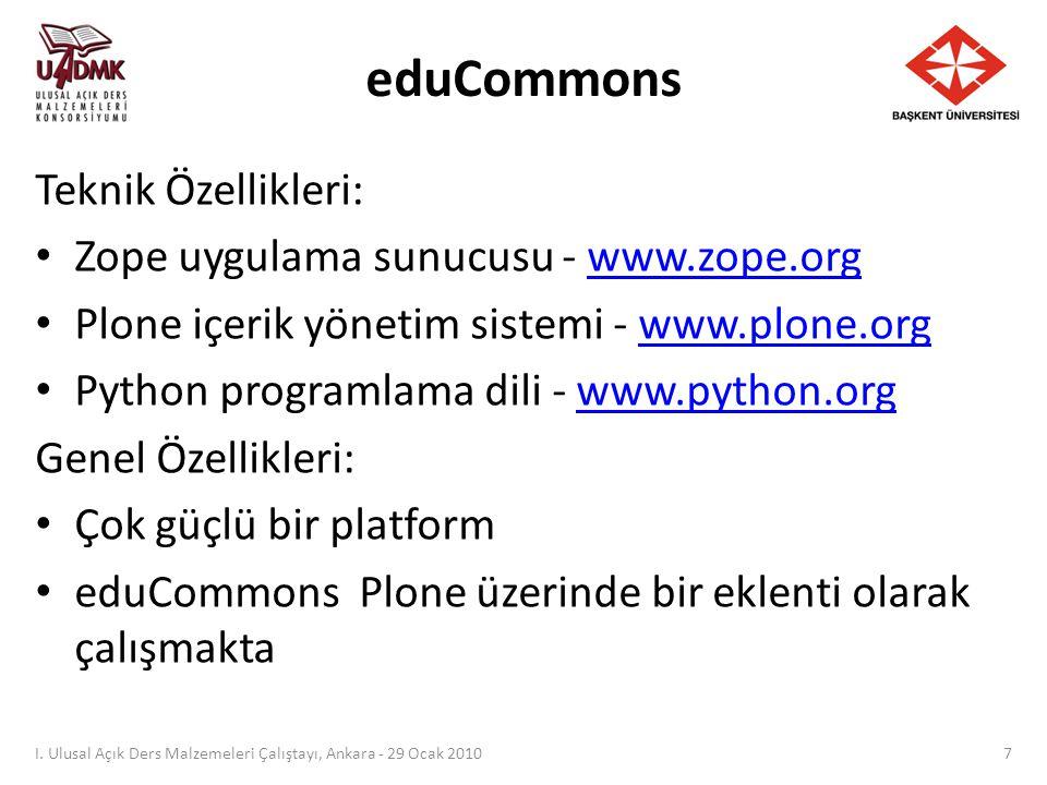 eduCommons I. Ulusal Açık Ders Malzemeleri Çalıştayı, Ankara - 29 Ocak 2010 8
