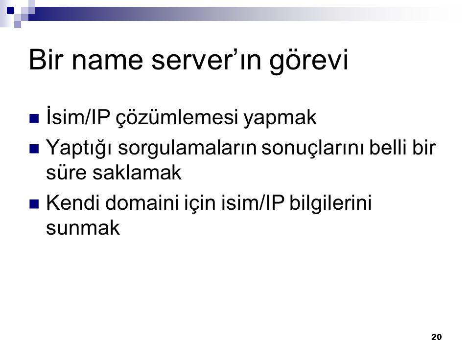 21 İsim Çözme  İsimden yola çıkarak isme ait kayıtlara erişmek…  Resolver, name server' a sorar.