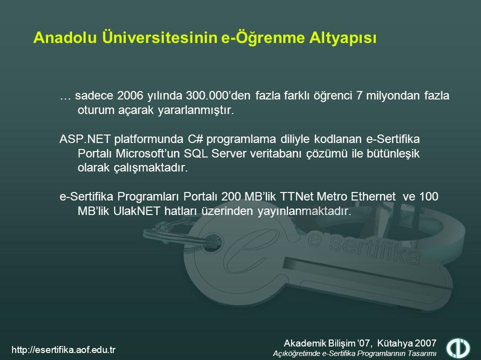 Anadolu Üniversitesinin e-Öğrenme Altyapısı … sadece 2006 yılında 300.000'den fazla farklı öğrenci 7 milyondan fazla oturum açarak yararlanmıştır. ASP