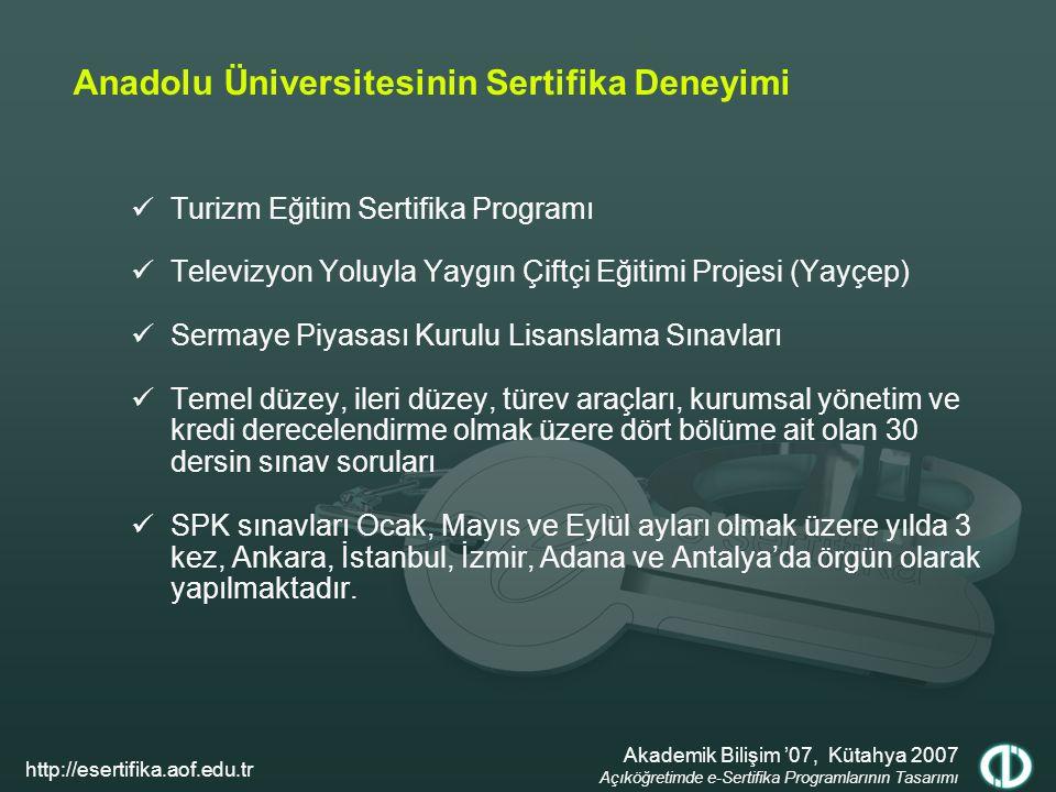 Anadolu Üniversitesinin Sertifika Deneyimi Turizm Eğitim Sertifika Programı Televizyon Yoluyla Yaygın Çiftçi Eğitimi Projesi (Yayçep) Sermaye Piyasası Kurulu Lisanslama Sınavları Temel düzey, ileri düzey, türev araçları, kurumsal yönetim ve kredi derecelendirme olmak üzere dört bölüme ait olan 30 dersin sınav soruları SPK sınavları Ocak, Mayıs ve Eylül ayları olmak üzere yılda 3 kez, Ankara, İstanbul, İzmir, Adana ve Antalya'da örgün olarak yapılmaktadır.