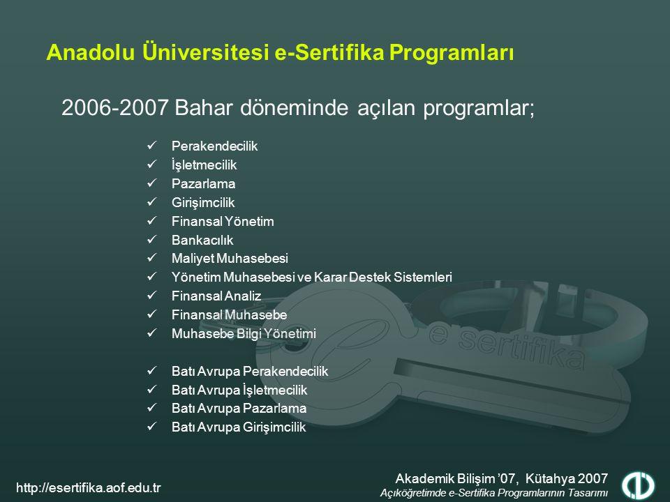 2006-2007 Bahar döneminde açılan programlar; Anadolu Üniversitesi e-Sertifika Programları Perakendecilik İşletmecilik Pazarlama Girişimcilik Finansal Yönetim Bankacılık Maliyet Muhasebesi Yönetim Muhasebesi ve Karar Destek Sistemleri Finansal Analiz Finansal Muhasebe Muhasebe Bilgi Yönetimi Batı Avrupa Perakendecilik Batı Avrupa İşletmecilik Batı Avrupa Pazarlama Batı Avrupa Girişimcilik Akademik Bilişim '07, Kütahya 2007 Açıköğretimde e-Sertifika Programlarının Tasarımı http://esertifika.aof.edu.tr
