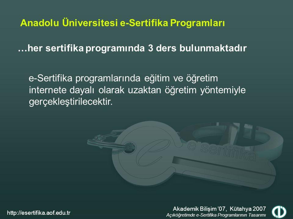 …her sertifika programında 3 ders bulunmaktadır Anadolu Üniversitesi e-Sertifika Programları e-Sertifika programlarında eğitim ve öğretim internete dayalı olarak uzaktan öğretim yöntemiyle gerçekleştirilecektir.