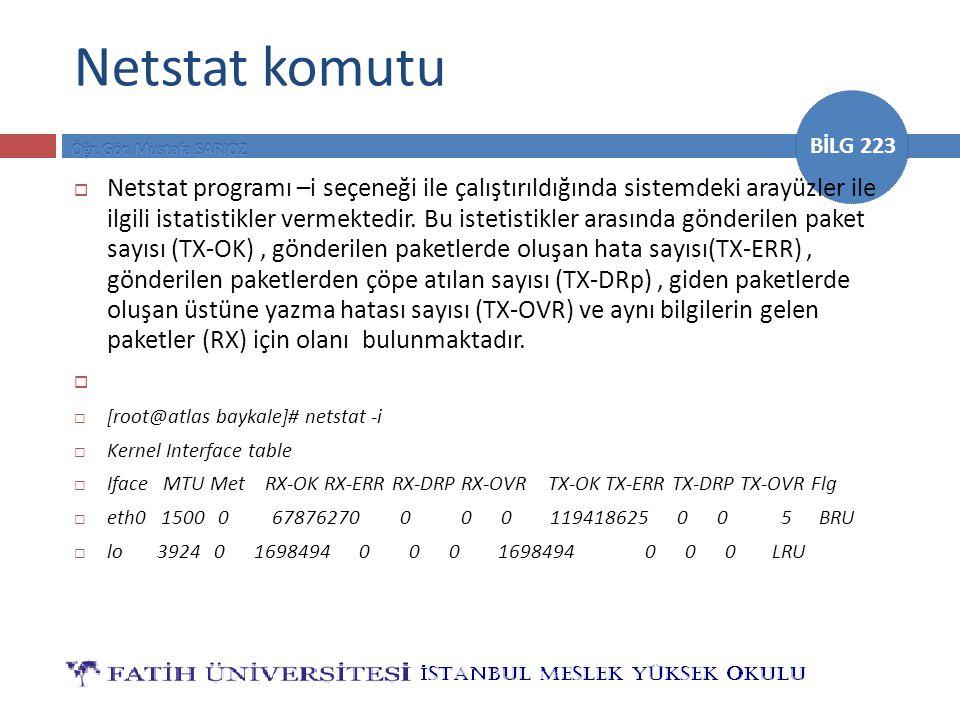 BİLG 223 Netstat komutu  Netstat programı –i seçeneği ile çalıştırıldığında sistemdeki arayüzler ile ilgili istatistikler vermektedir. Bu istetistikl