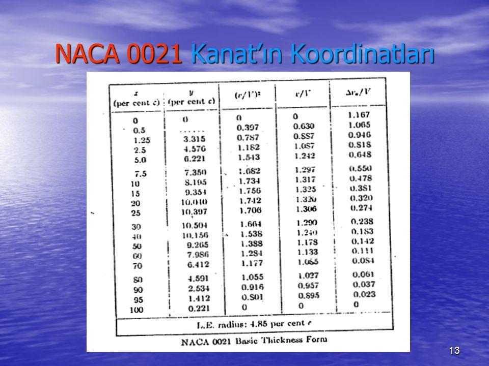 13 NACA 0021 Kanat'ın Koordinatları