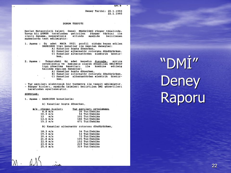 22 DMİ Deney Raporu