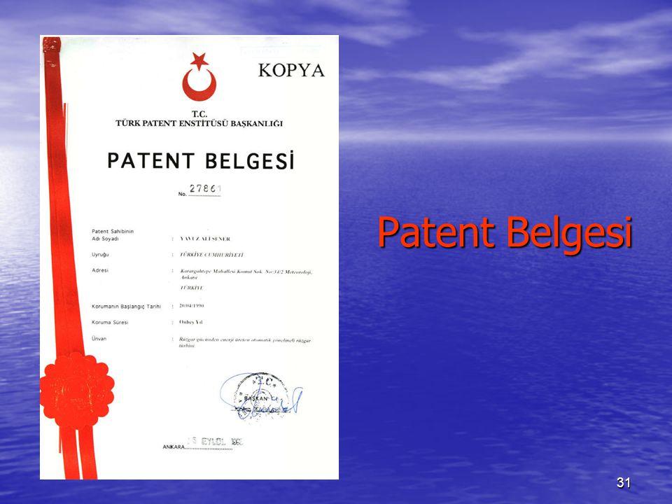 31 Patent Belgesi