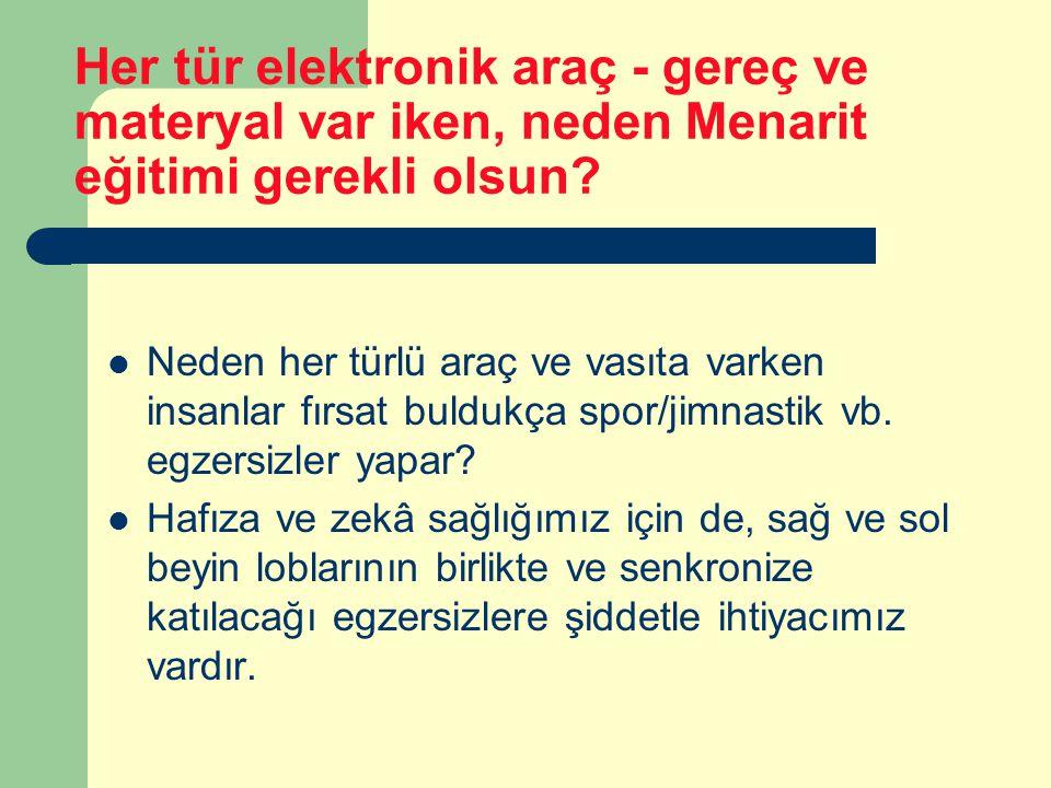 Her tür elektronik araç - gereç ve materyal var iken, neden Menarit eğitimi gerekli olsun.
