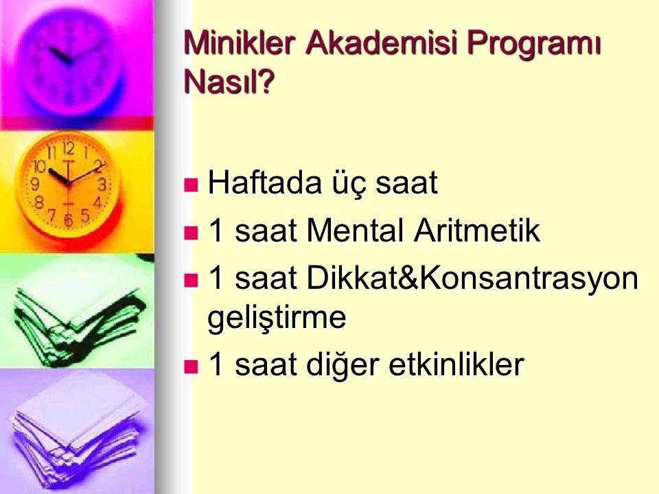 Minikler Akademisi Programı Nasıl? Haftada üç saat Haftada üç saat 1 saat Mental Aritmetik 1 saat Mental Aritmetik 1 saat Dikkat&Konsantrasyon gelişti
