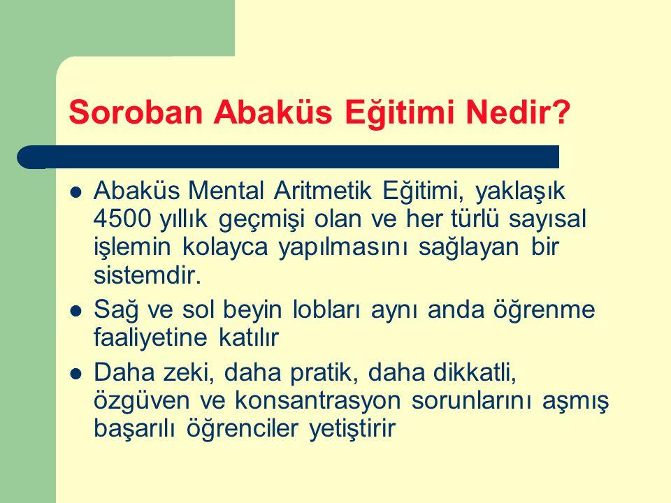 Soroban Abaküs Eğitimi Nedir? Abaküs Mental Aritmetik Eğitimi, yaklaşık 4500 yıllık geçmişi olan ve her türlü sayısal işlemin kolayca yapılmasını sağl