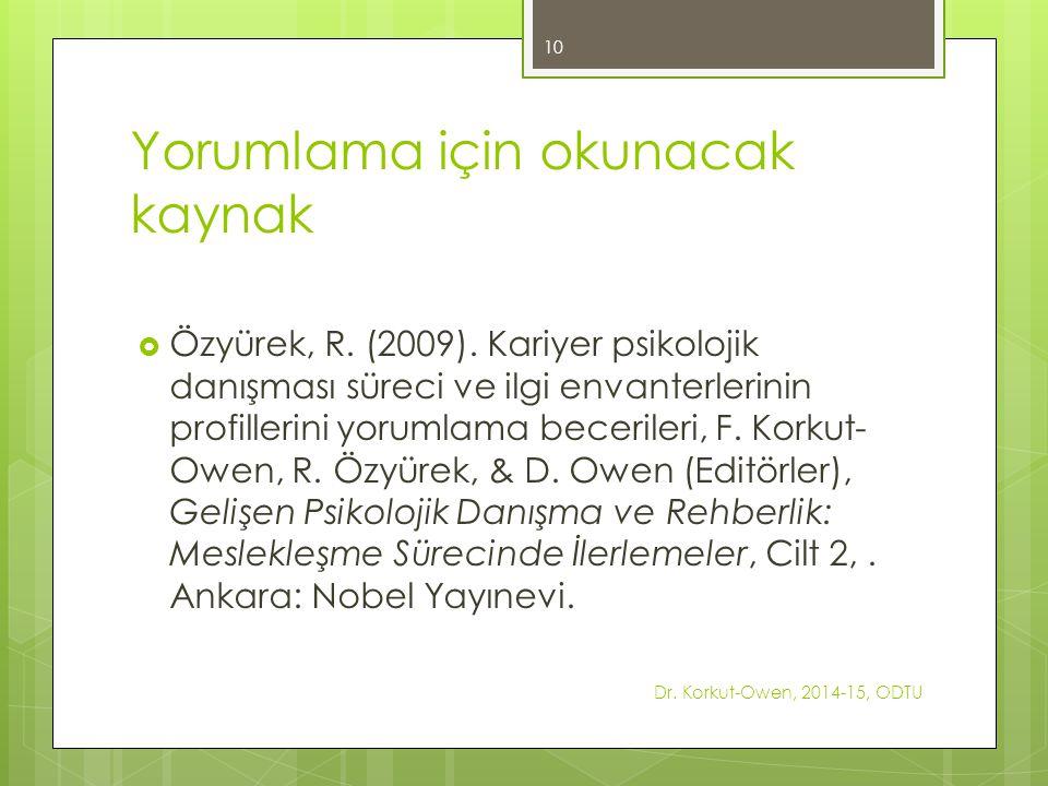 Yorumlama için okunacak kaynak  Özyürek, R.(2009).