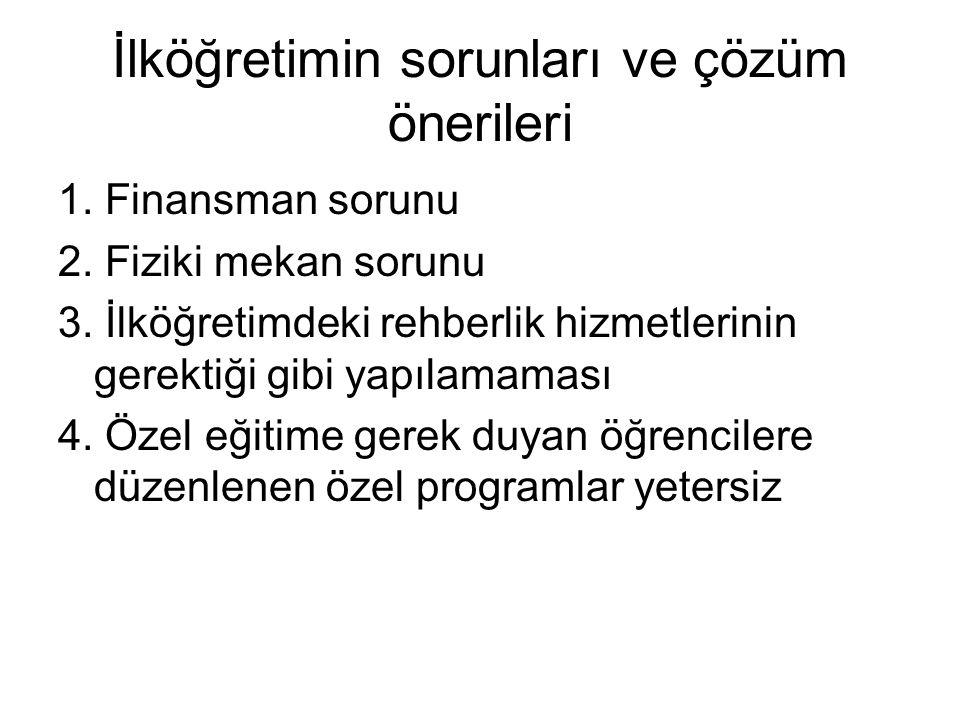İlköğretimin sorunları ve çözüm önerileri 1.Finansman sorunu 2.