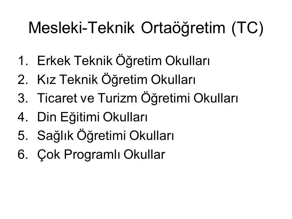 Mesleki-Teknik Ortaöğretim (TC) 1.Erkek Teknik Öğretim Okulları 2.Kız Teknik Öğretim Okulları 3.Ticaret ve Turizm Öğretimi Okulları 4.Din Eğitimi Okulları 5.Sağlık Öğretimi Okulları 6.Çok Programlı Okullar