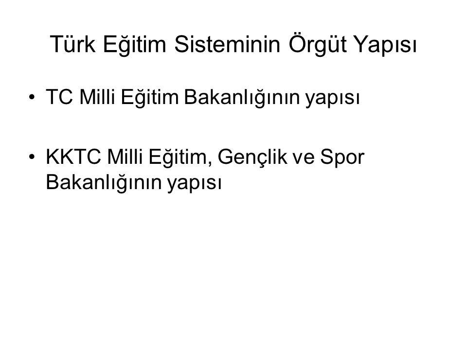 Türk Eğitim Sisteminin Örgüt Yapısı TC Milli Eğitim Bakanlığının yapısı KKTC Milli Eğitim, Gençlik ve Spor Bakanlığının yapısı