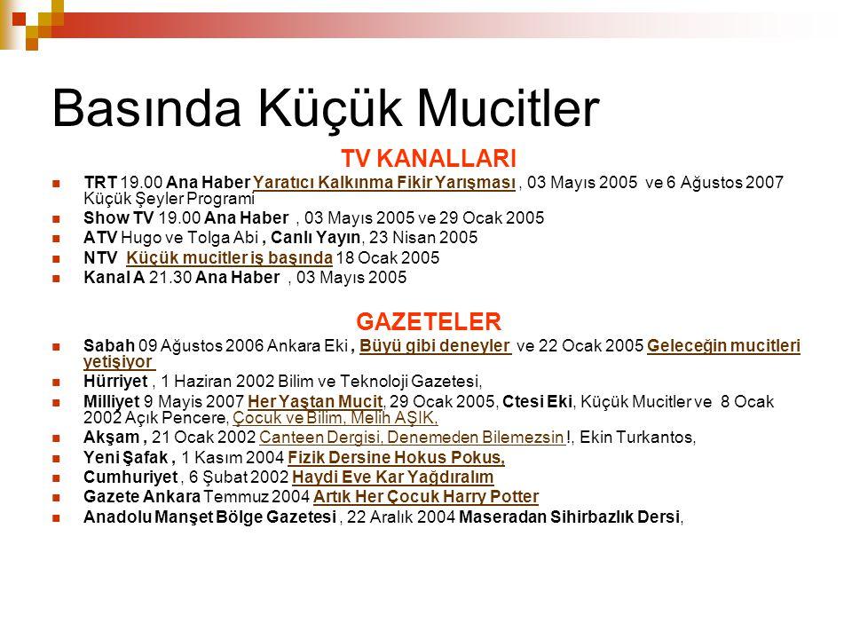 Basında Küçük Mucitler TV KANALLARI TRT 19.00 Ana Haber Yaratıcı Kalkınma Fikir Yarışması, 03 Mayıs 2005 ve 6 Ağustos 2007 Küçük Şeyler ProgramiYaratı