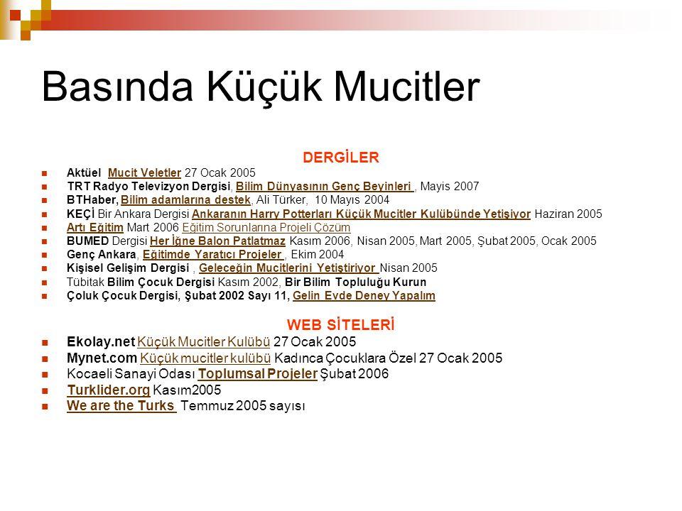 Basında Küçük Mucitler DERGİLER Aktüel Mucit Veletler 27 Ocak 2005Mucit Veletler TRT Radyo Televizyon Dergisi, Bilim Dünyasının Genç Beyinleri, Mayis