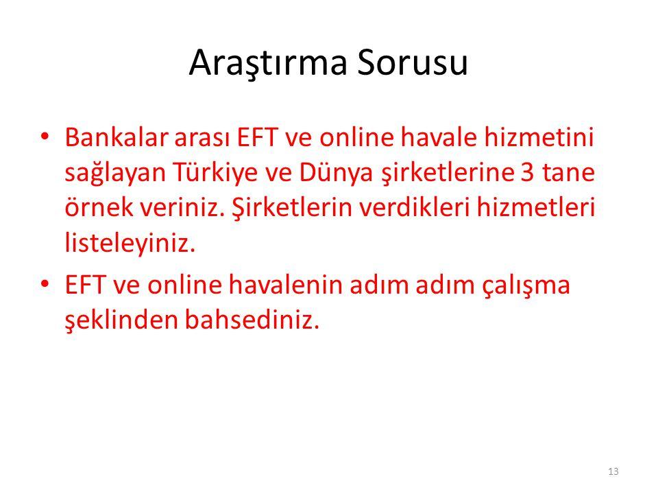 Araştırma Sorusu Bankalar arası EFT ve online havale hizmetini sağlayan Türkiye ve Dünya şirketlerine 3 tane örnek veriniz. Şirketlerin verdikleri hiz