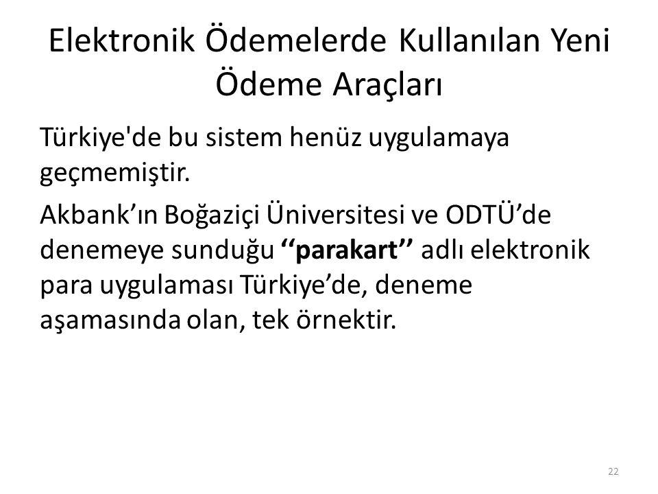 Elektronik Ödemelerde Kullanılan Yeni Ödeme Araçları Türkiye'de bu sistem henüz uygulamaya geçmemiştir. Akbank'ın Boğaziçi Üniversitesi ve ODTÜ'de den