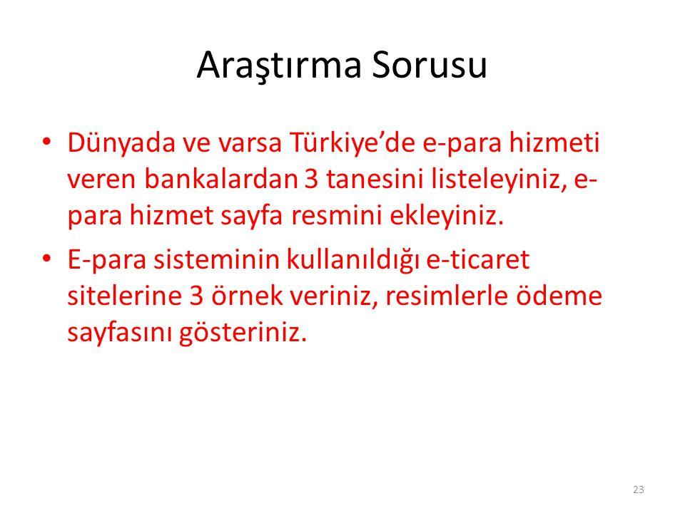 Araştırma Sorusu Dünyada ve varsa Türkiye'de e-para hizmeti veren bankalardan 3 tanesini listeleyiniz, e- para hizmet sayfa resmini ekleyiniz. E-para