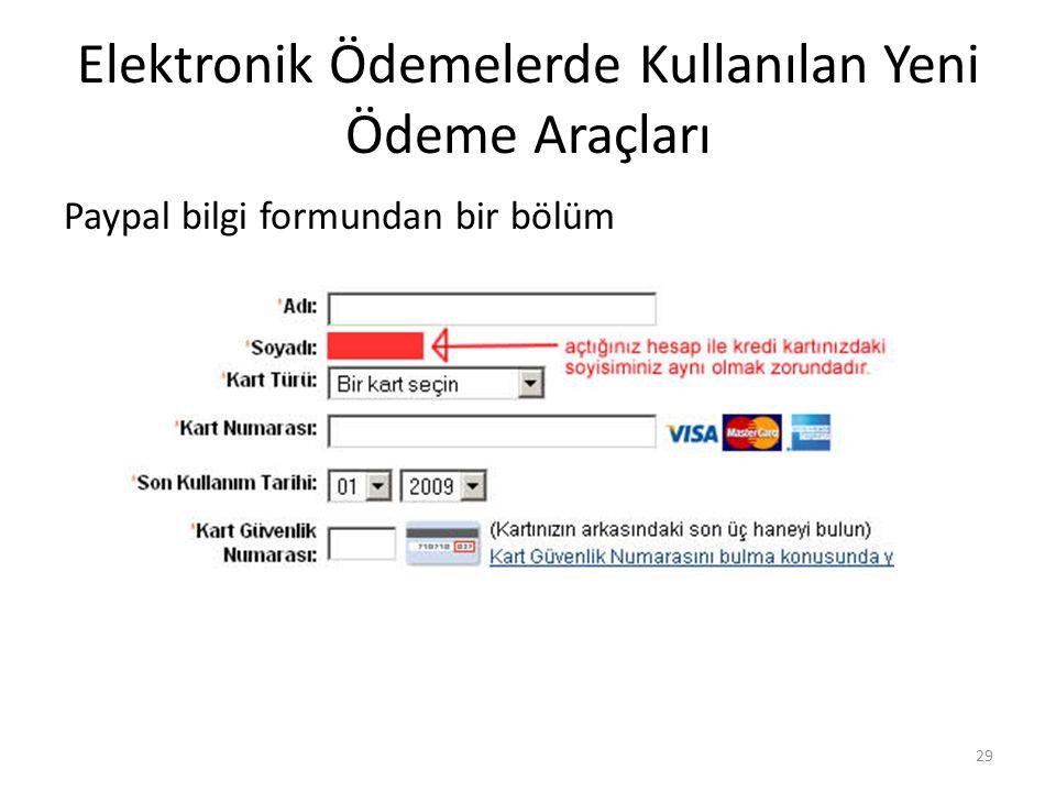 Elektronik Ödemelerde Kullanılan Yeni Ödeme Araçları Paypal bilgi formundan bir bölüm 29